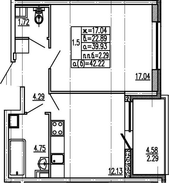 1-к.кв, 44.51 м²