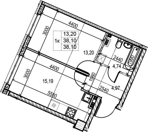 2-комнатная 38 м<sup>2</sup> на 3 этаже