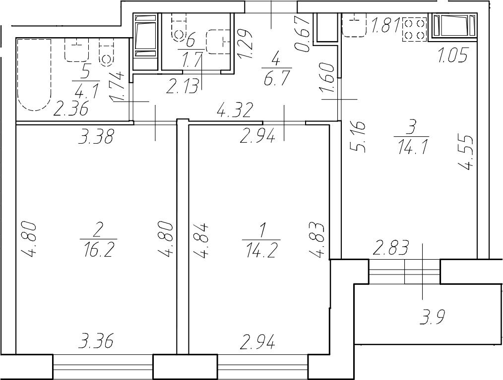 2-комнатная 60 м<sup>2</sup> на 17 этаже