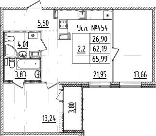 3-комнатная 65 м<sup>2</sup> на 7 этаже