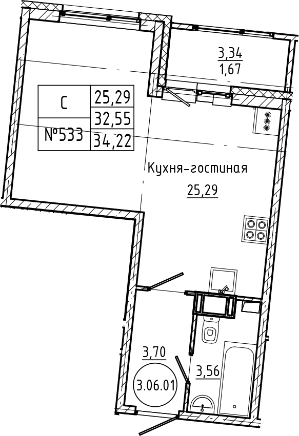 Студия 35 м<sup>2</sup> на 6 этаже