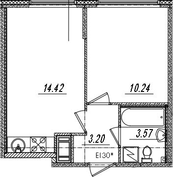 2-комнатная 31 м<sup>2</sup> на 4 этаже