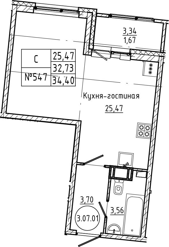 Студия 36 м<sup>2</sup> на 7 этаже