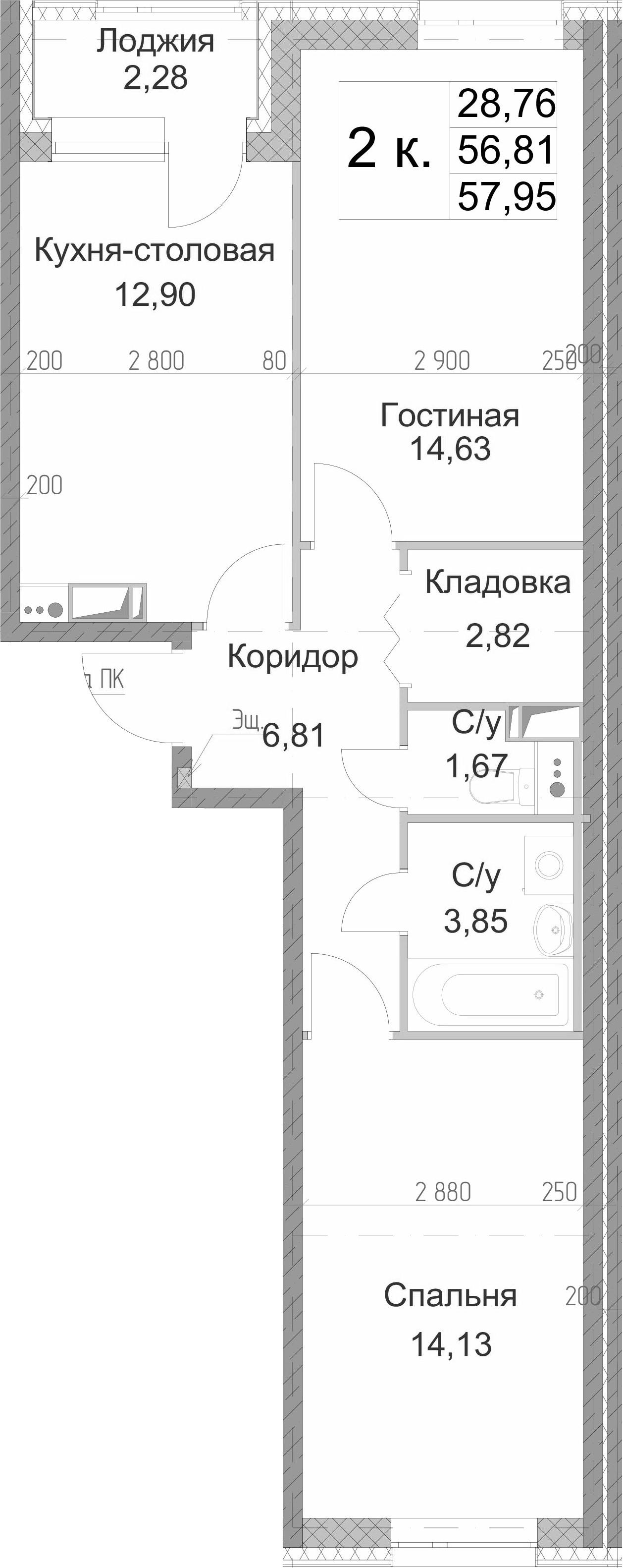 2-комнатная 59 м<sup>2</sup> на 8 этаже