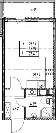 Студия 31 м<sup>2</sup> на 4 этаже