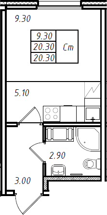 Студия 20 м<sup>2</sup> на 10 этаже