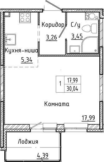 Студия 34 м<sup>2</sup> на 7 этаже