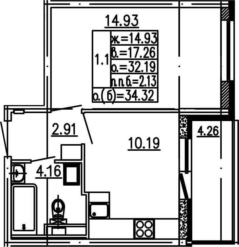 1-к.кв, 36.45 м²