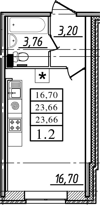 Студия, 23.66 м²