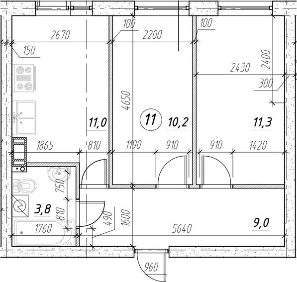 2-к.кв, 45.3 м²