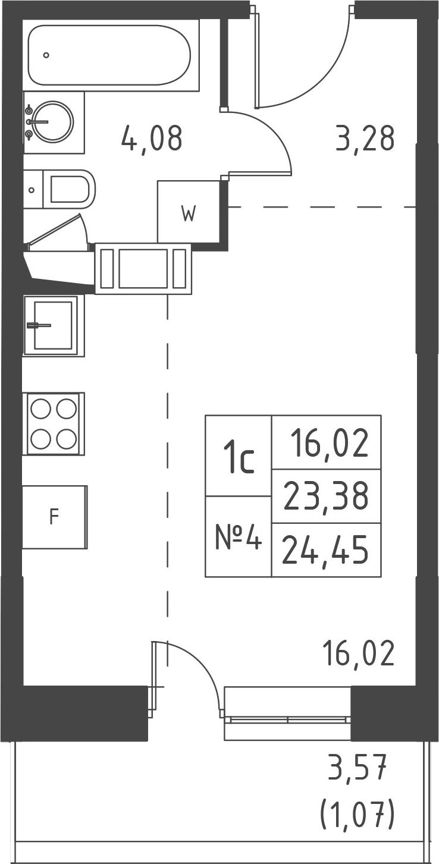 Студия, 26.95 м²