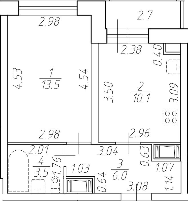 1-комнатная 35 м<sup>2</sup> на 15 этаже
