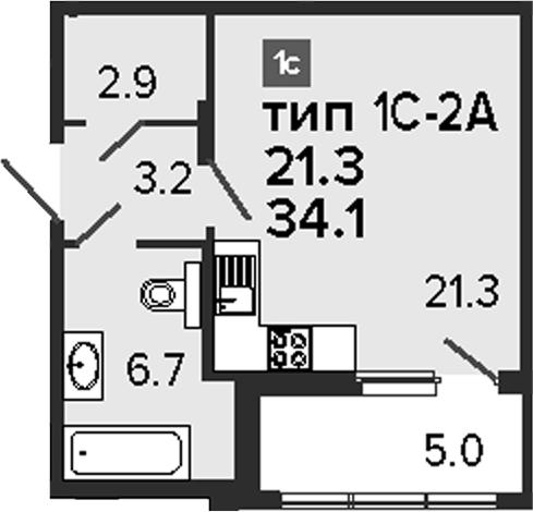Студия 39 м<sup>2</sup> на 2 этаже