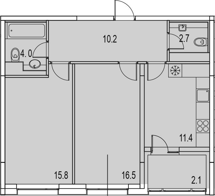 2-комнатная 64 м<sup>2</sup> на 4 этаже