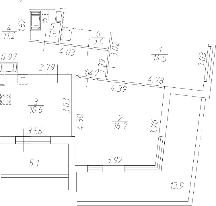 2-комнатная 77 м<sup>2</sup> на 5 этаже