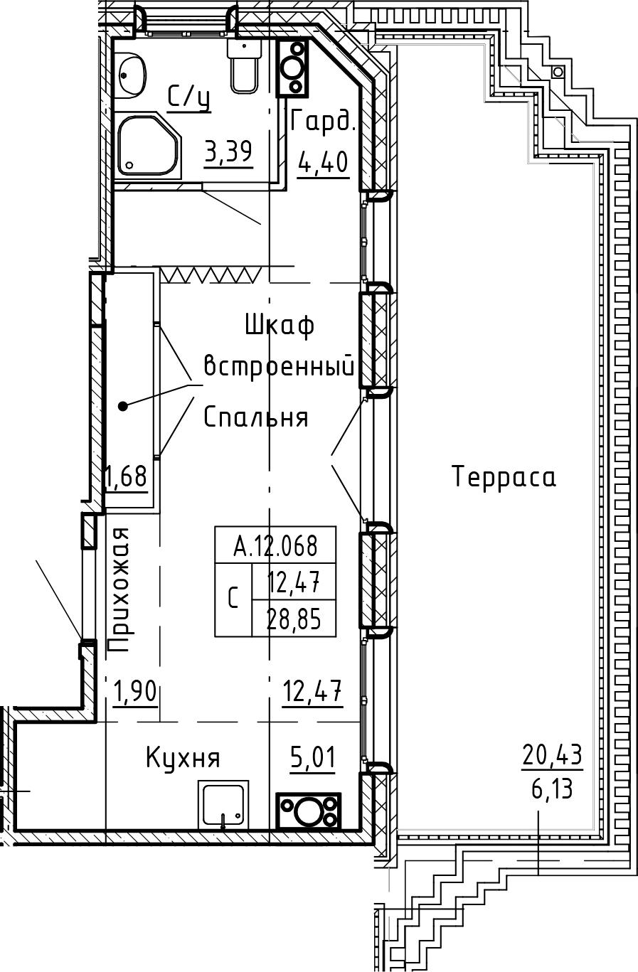 Студия 49 м<sup>2</sup> на 12 этаже