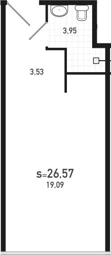 Студия 26 м<sup>2</sup> на 15 этаже