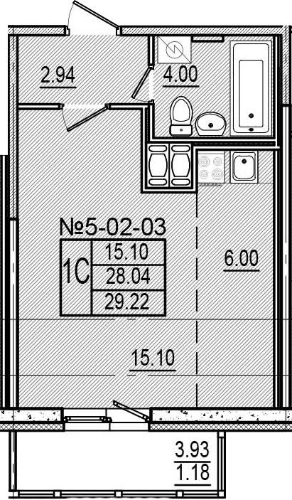 Студия, 31.97 м²