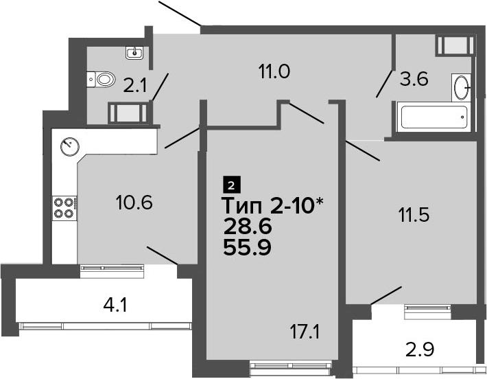 2-комнатная 62 м<sup>2</sup> на 20 этаже