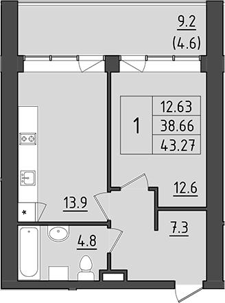 1-комнатная 57 м<sup>2</sup> на 4 этаже