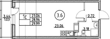 Студия 32 м<sup>2</sup> на 12 этаже