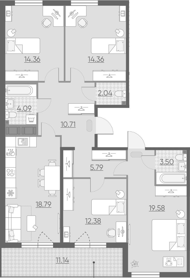 4-комнатная 116 м<sup>2</sup> на 12 этаже
