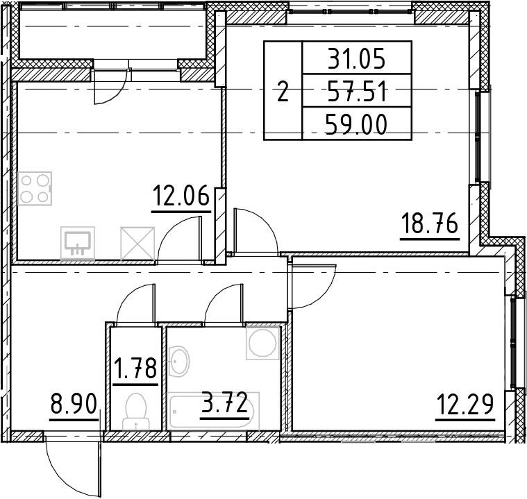 2-к.кв, 60.49 м²