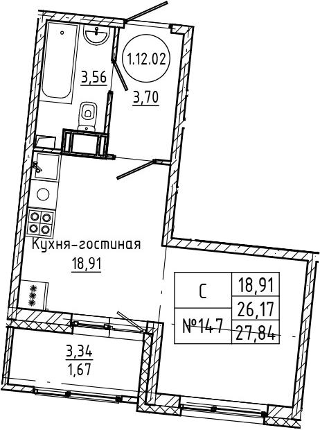 Студия 29 м<sup>2</sup> на 12 этаже