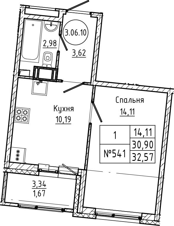 1-комнатная 34 м<sup>2</sup> на 6 этаже
