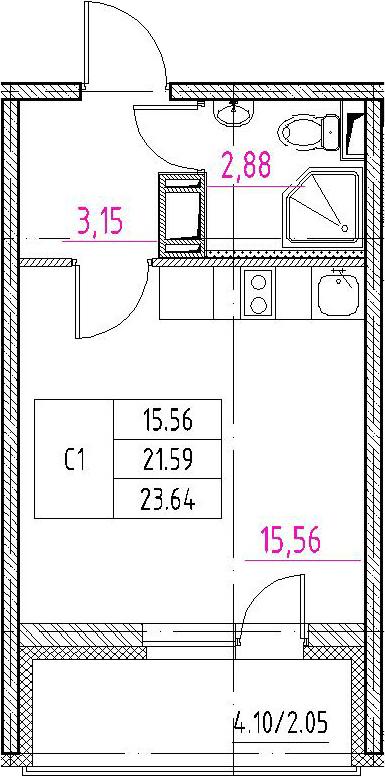 Студия, 25.69 м²