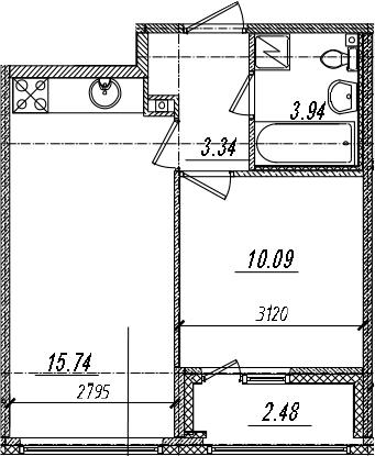2-комнатная 35 м<sup>2</sup> на 12 этаже