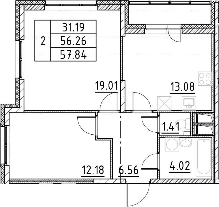 2-комнатная 59 м<sup>2</sup> на 14 этаже