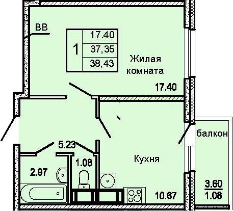 1-комнатная 40 м<sup>2</sup> на 12 этаже