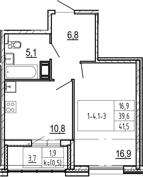 1-комнатная 43 м<sup>2</sup> на 7 этаже