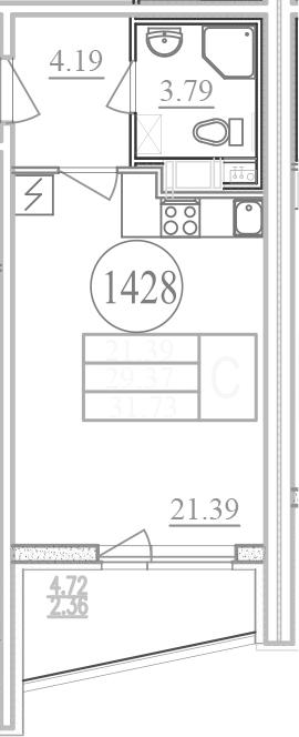 Студия 35 м<sup>2</sup> на 12 этаже