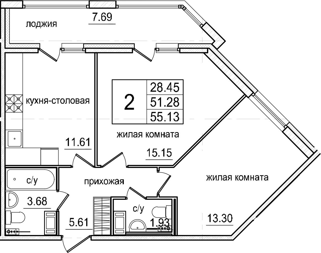 2-комнатная 58 м<sup>2</sup> на 4 этаже
