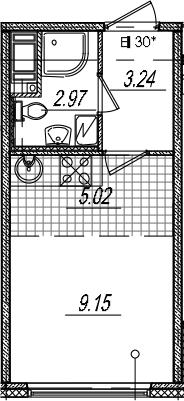 Студия 20 м<sup>2</sup> на 4 этаже