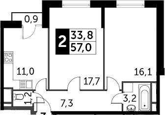 2-к.кв, 58.17 м²