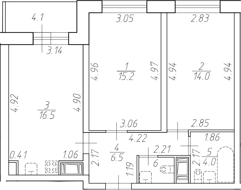 3-комнатная 62 м<sup>2</sup> на 11 этаже