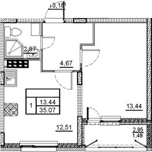 1-комнатная 36 м<sup>2</sup> на 4 этаже