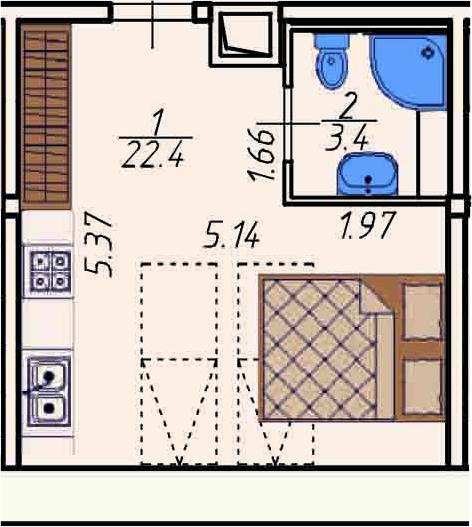 Студия 25 м<sup>2</sup> на 5 этаже