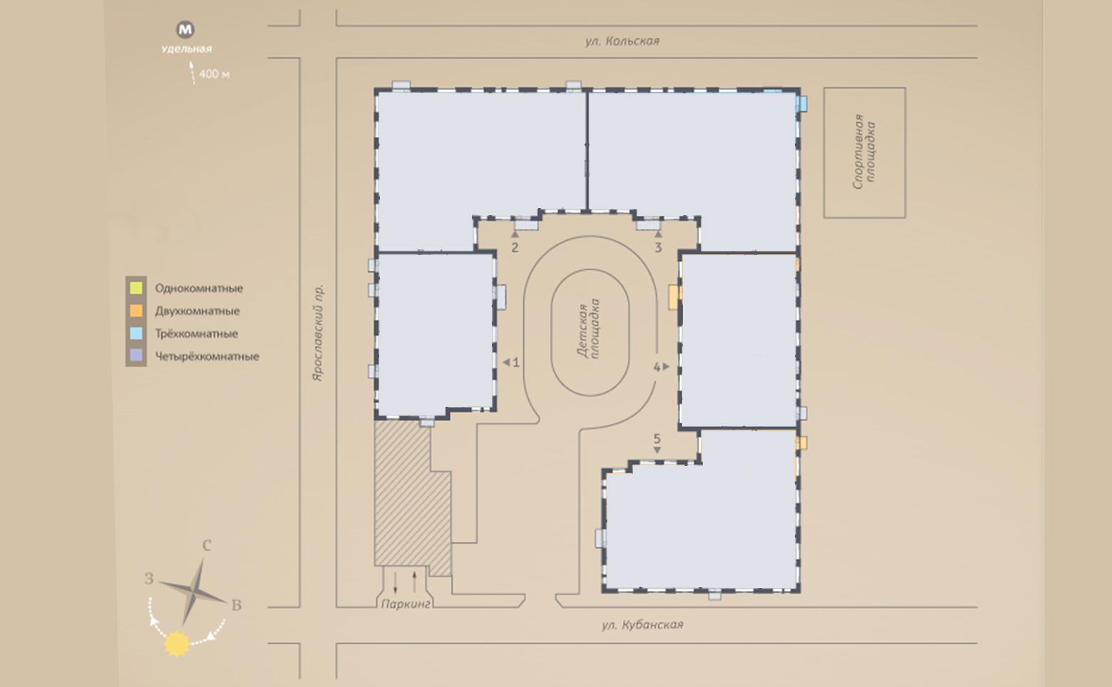 План жилого комплекса ЖК Ярославский 27