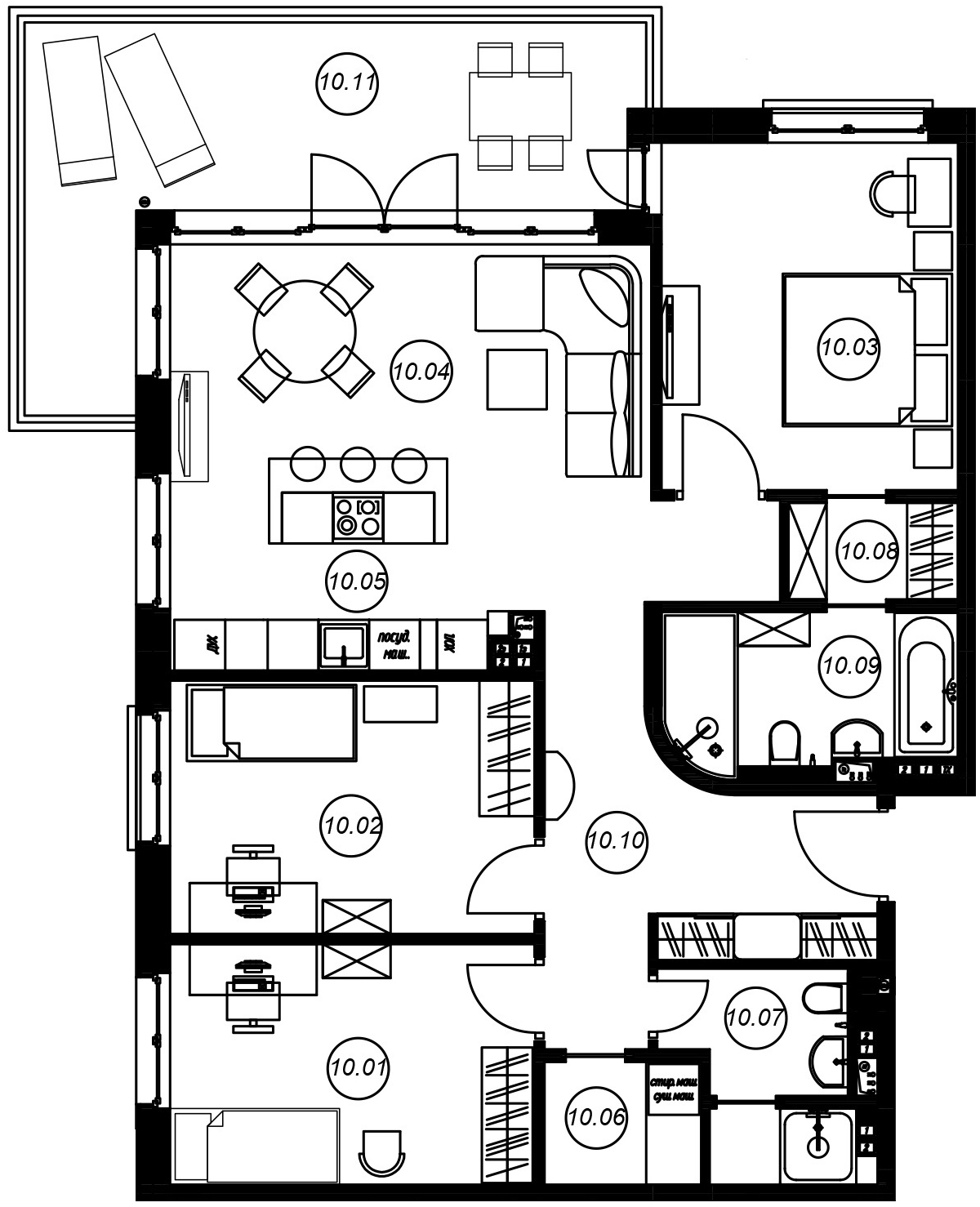 4-комнатная 115 м<sup>2</sup> на 3 этаже