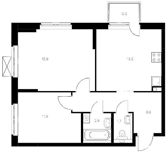 2-комнатная 57 м<sup>2</sup> на 19 этаже