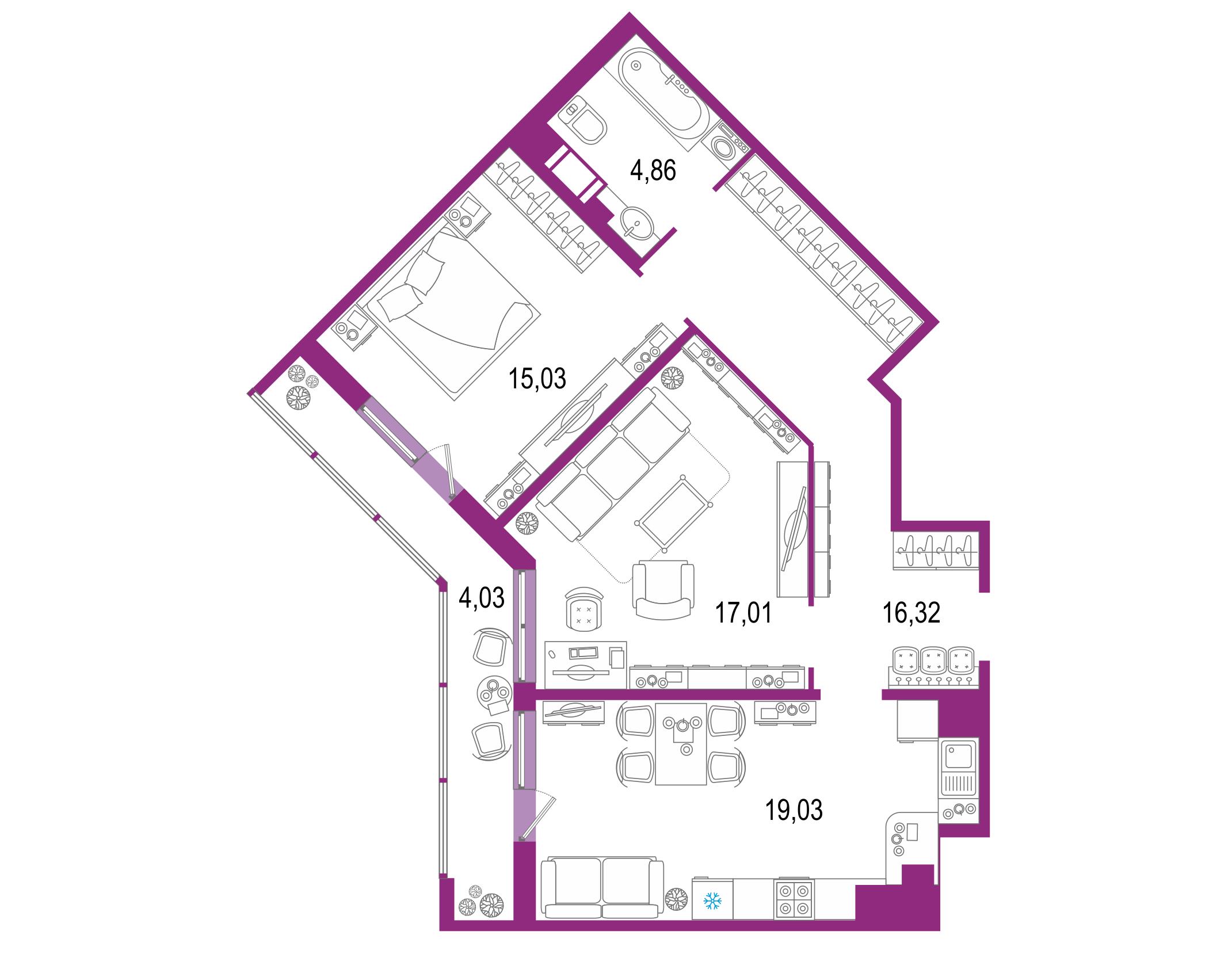 3-комнатная 80 м<sup>2</sup> на 22 этаже