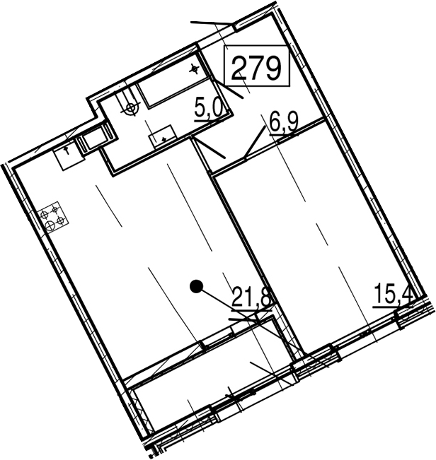 2-комнатная 53 м<sup>2</sup> на 11 этаже