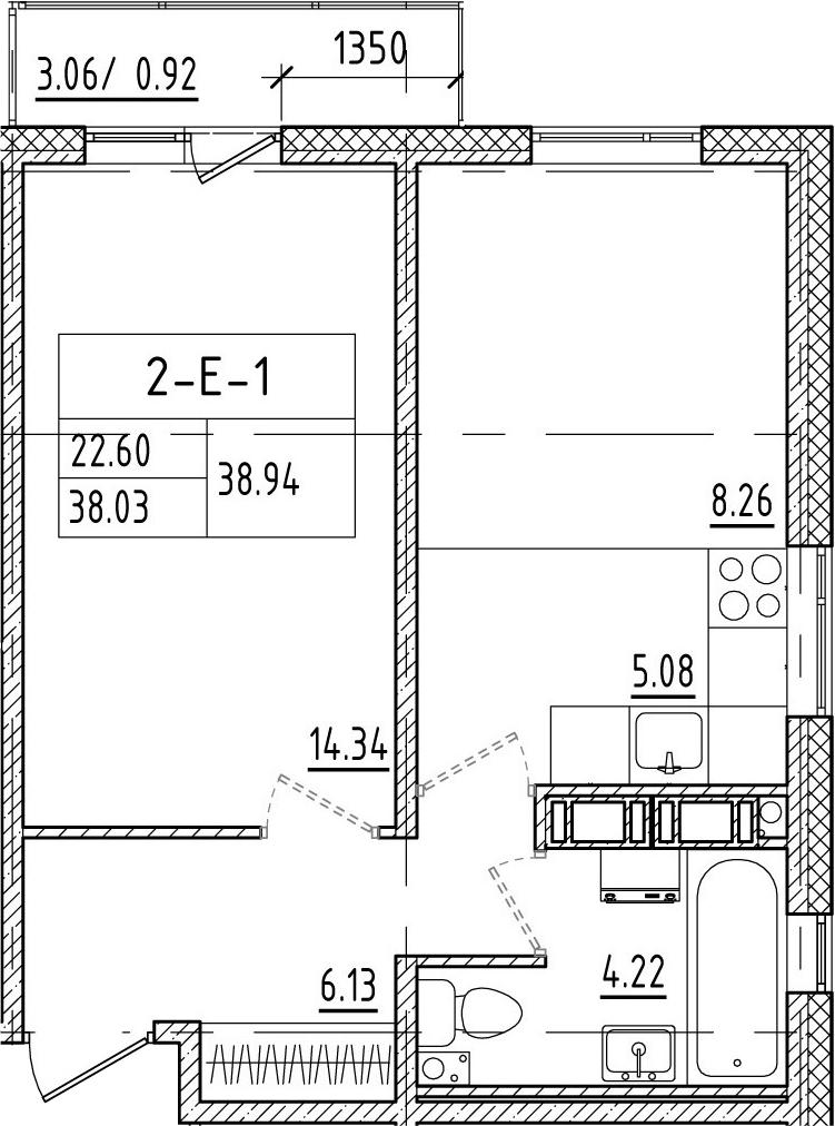 2-к.кв (евро), 41.01 м²