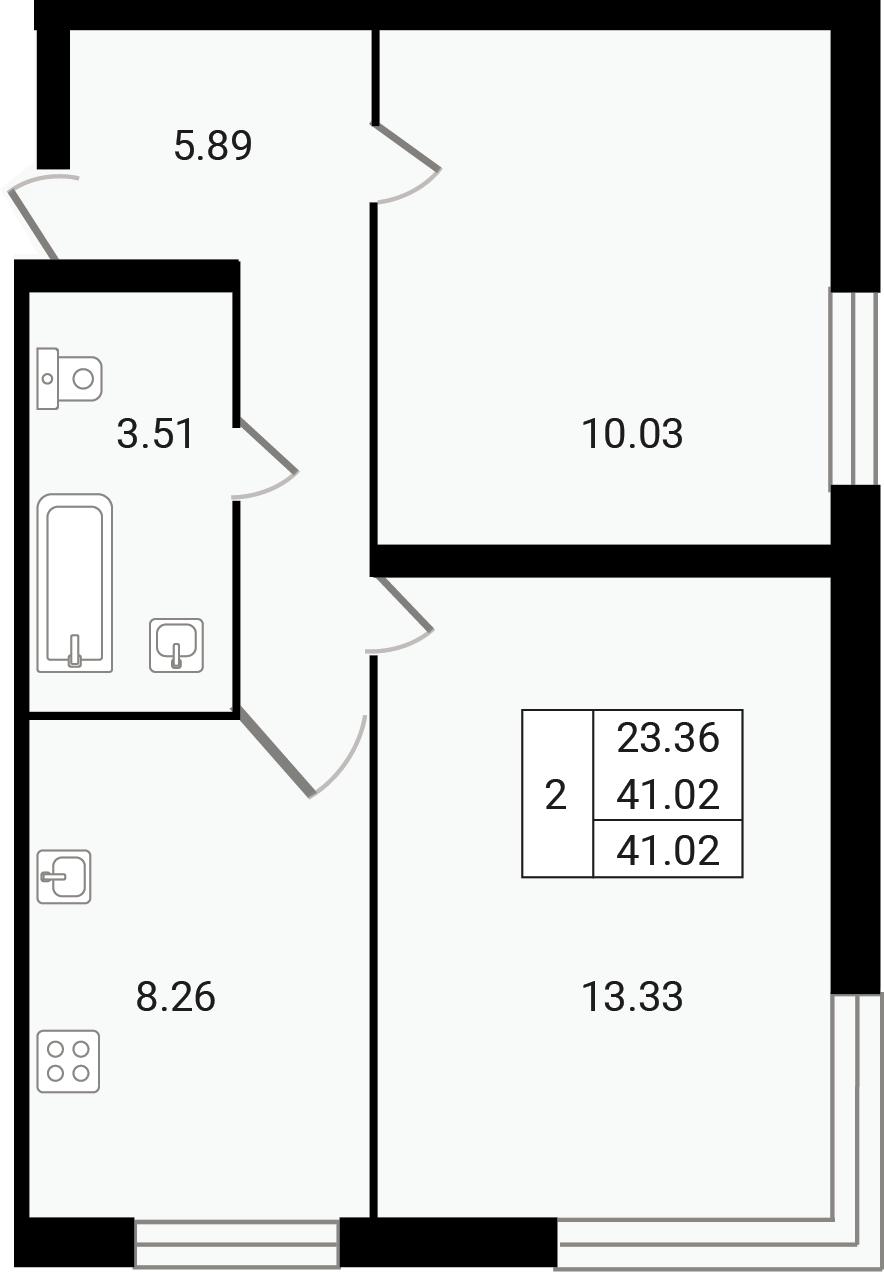 2-к.кв, 41.02 м²