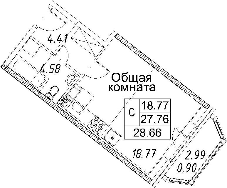 Студия, 30.76 м²