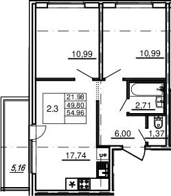 3-комнатная 54 м<sup>2</sup> на 4 этаже